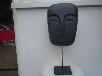 Unusual large wooden abstract mask with metal display stand    TRIBAL AFRICAN?