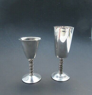 2 mix & match reproduction wine goblets one being Falstaff silver plated