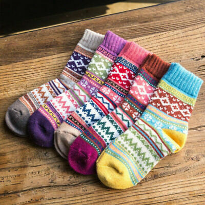 Women Warm Soft Socks Wool Cashmere Thick Casual Winter Colorful Socks Acc