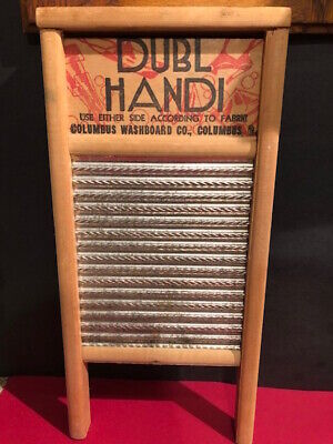 "Vintage DUBL HANDI Washboard Wood and Metal Columbus  8.5"" X 18"""