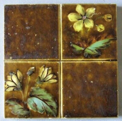 Antique English Tile Floral Four Square Barbotine Decorated Sherwin Cotton