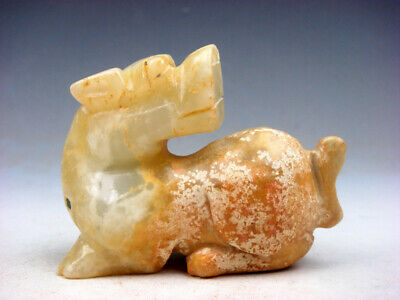 Old Nephrite Jade Carved Pendant Sculpture Foo Dog Lion Looking Back #01241812