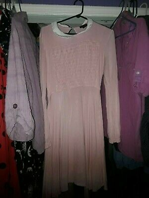 USED Eleven Stranger Things Netflix Pink Cosplay Hot Topic Dress Size L