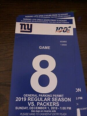 New York Giants vs. Green Bay Packers Parking Pass