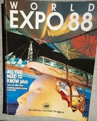 WORLD EXPO 88-The Official Souvenir Program-tear-out site map intact.SC 176 pgs.