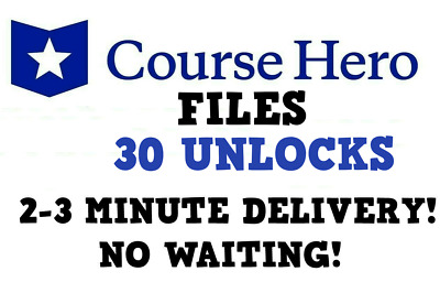Course Hero Files for 30 Unlocks - INSTANT DELIVERY TO EMAIL 24/7!!