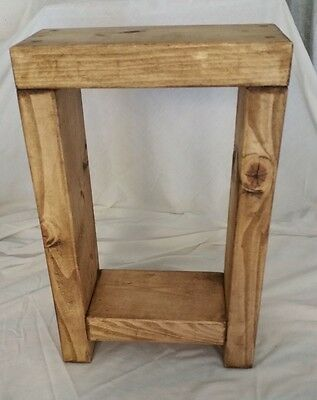 Hand Made Solid Wood Chunky Rustic Side/Lamp/Bedside Table