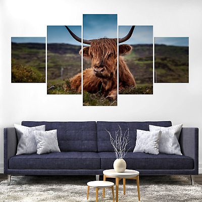 Cow Bull Canvas Print Painting Framed Home Decor Wall Art Picture Poster Pic