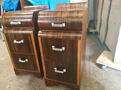 Art Deco Antique Bedside draws x 2 Walnut  Restored