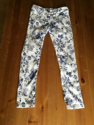 NEXT girls skinny  jeans white blue floral adjustable waist   age 9 years