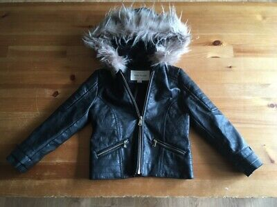 River Island faux leather girls  coat black fur hooded    age 6 years