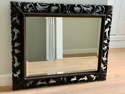 Beautiful Antique Carved Wood Mirror In The Black Forest Style