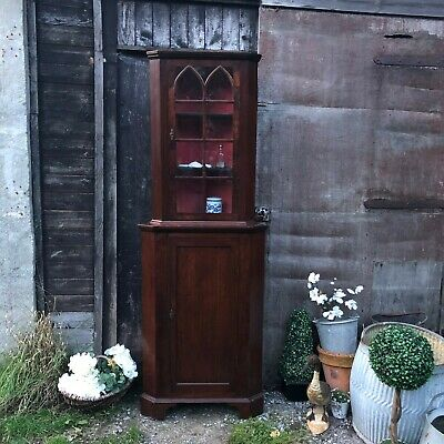Sweet Georgian Antique Mahogany Glazed Country Townhouse Corner Cabinet Cupboard