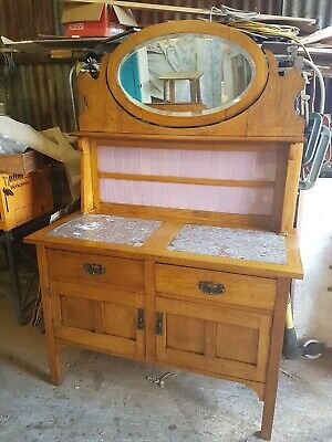 Antique Art Deco Edwardian Marble Top Washstand Silky Oak Restored