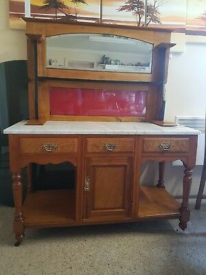 Antique Art Deco Edwardian Victorian Art  Marble Top Washstand