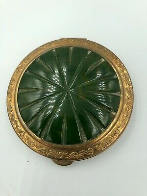 Vintage Crest Bakelite and Brass Powder Compact