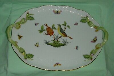 Stunning Quality Herend Porcelain Hand Painted Rothchild Birds Twin Handled Tray