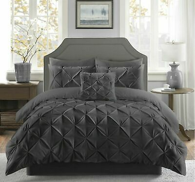 Charcoal Pinch Pintuck Duvet Cover Bedding Set Double King Size Quilt Cover