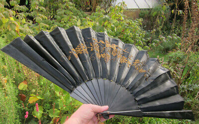 Victorian Hand Held Silk Fan Mourning Black w Gold Threaded Embroidery Flowers
