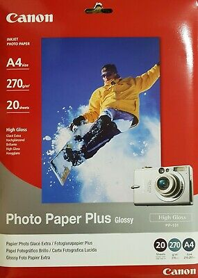 Genuine Canon Photo Paper Plus Glossy (PP-101), A4 size, 270gsm, 20 sheets