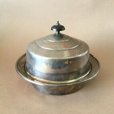 Antique Silver Plated Lidded Serving Dish Muffin ebony Finial