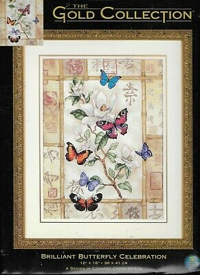 Counted Gold Cross Stitch Kit Butterfly Forrest Dimensions D35223