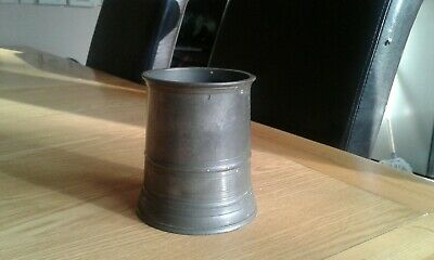 antique pewter pot mug with a insertion on the bottom