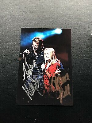 Johnny Hallyday France Gall Photo  dedicace autograph