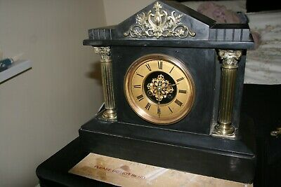 Victorian black slate mantle clock  -  no key (read notes below)