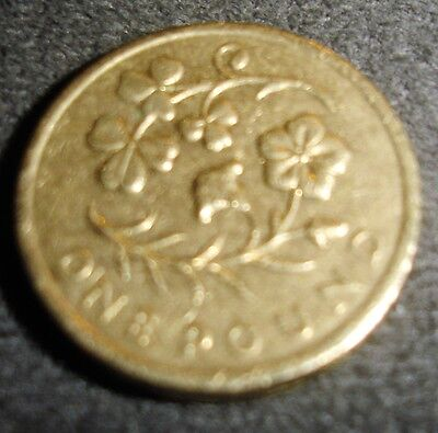 £1 COIN ~2014 ~ A depiction of the floral emblem of N Ireland Edge ~ CIRCULATED