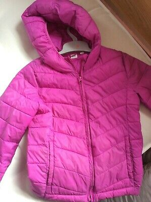 GAP girl's pink puffa jacket with hood age XL (12-13) used in very good conditio