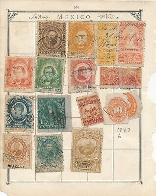 Stamps mexico early collection Documentary revenue fiscal on album page
