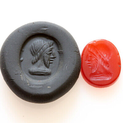 Museum Quality Roman Glass Intaglio Seal From A Ring Depicting Emperor Bust Ca 1