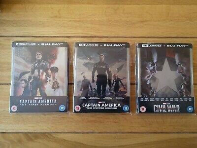 Marvel Captain America Trilogy 4K UHD Blu Ray Steelbooks New, Sealed, SO & OOP!!