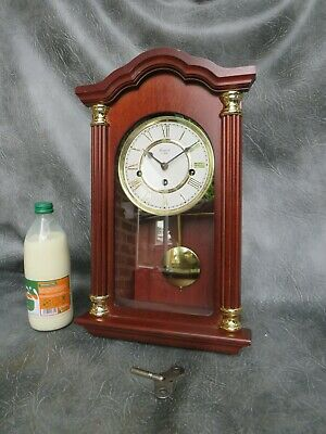 A Very Nice Mahogany Cased Rapport Westminster Chime Wall Clock *Serviced*