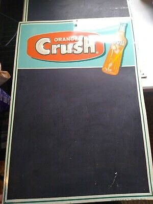 Vintage Orange Crush Soda Pop Menu Chalkboard Embossed Tin Sign Made USA
