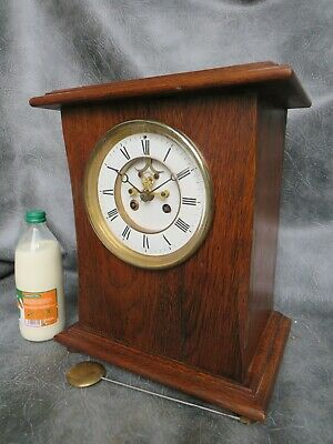 A Good Large Oak Cased Bell Strike French Clock With Visible Escapement Serviced