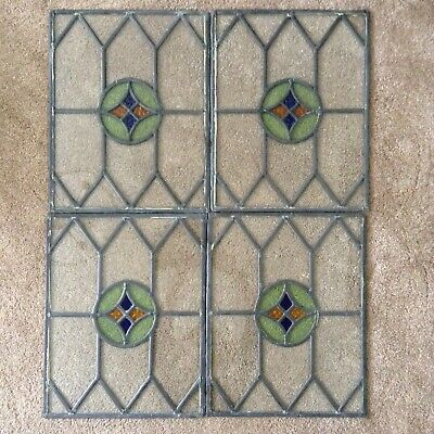 4 Vintage Leaded Light Stained Glass Window Panels Panes Art Deco ~ 1930 Salvage