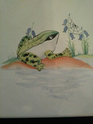 Hand painted ceramic tile. Frog and bluebells