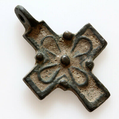 Wearable Byzantine Bronze Decorated Cross Pendant Circa 1000-1200 Ad