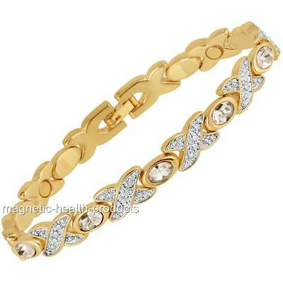 Ladies Magnetic Healing Bracelet White Crystals Bangle- Arthritis Pain Relief 32