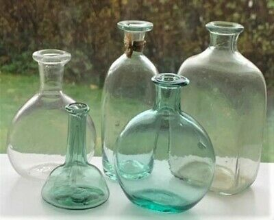 Group of Five Early Pontiled Medicine Apothecary Bottles