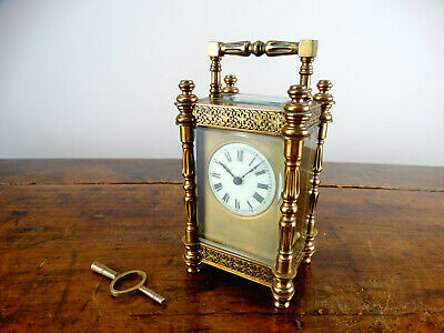 Antique 19th Century Victorian French Brass Carriage Clock in Ornate Case c1890