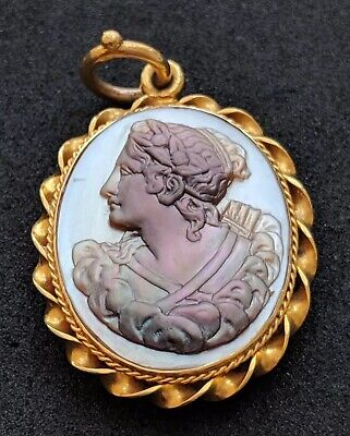 Antique Early Victorian Mother of Pearl Cameo Hair locket 18ct Gold Pendant