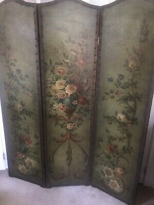 3 Panel Italian Hand Painted Antique Folding Screen