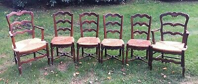 6 Antique FRENCH COUNTRY Provincial Louis XV Style Chairs Armchairs Rush Seats