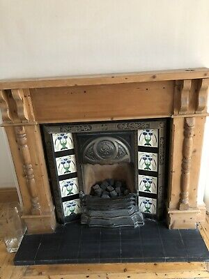Victorian Style Cast Iron Fireplace with Tiles and Wooden Mantlepiece