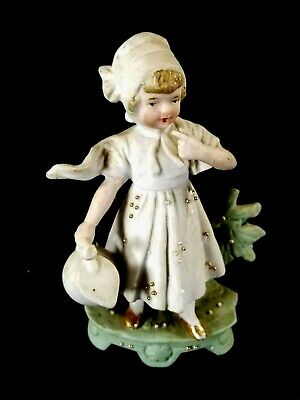 Antique Hand Painted Victorian German Bisque Girl Figurine With Water Jug