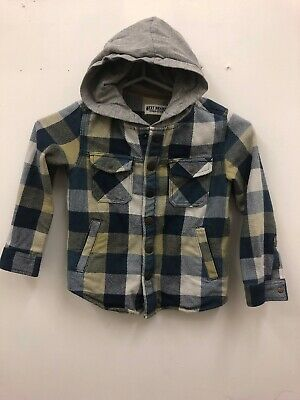 boys next thick denim and checked hooded shirt top aged 5 Years