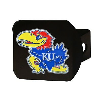 "University of Kansas Jayhawks NCAA 2"" Black Metal Tow Hitch Receiver Cover"
